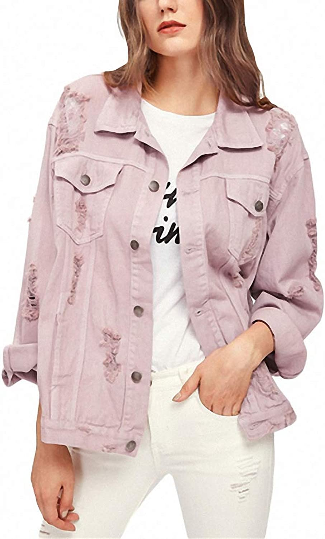 Hiuwa Womens Denim Jacket Detail Boyfriend Pink Lapel Single Breasted Casual