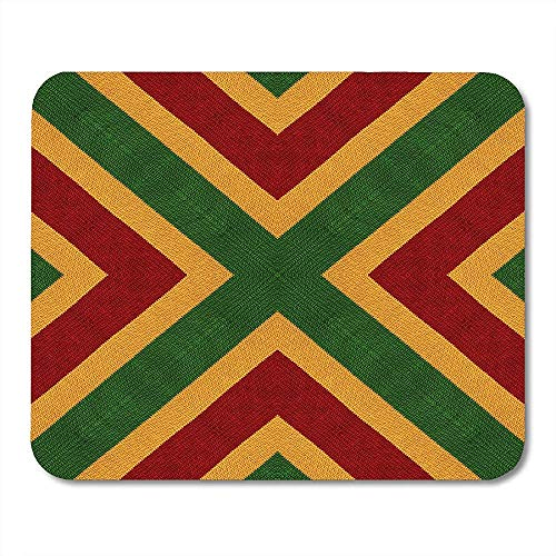 Mouse Pads Reggae Colors Flag Crochet Knitted Top View Collage Mirror Reflection Kaleidoscope Montage for Plaid Mouse pad Mats 25 X 30 CM