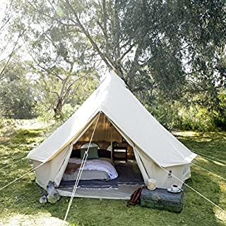 Psyclone Tents Fixed Floor 8 Windows 4m/13.12ft Luxury Outdoor All Weather 6-8 Person Cotton Canvas Yurt Medium Bell Tent for Family Camping Glamping Hiking and Festivals