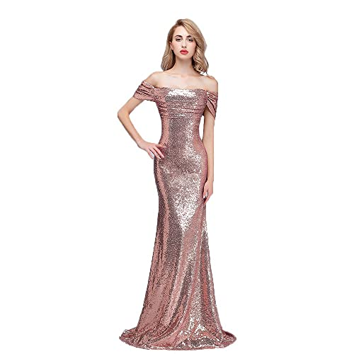 4cd4dbd58f47 Honey Qiao Sequins Off The Shoulder Bridesmaid Dresses Long Pleats Prom Party  Gowns