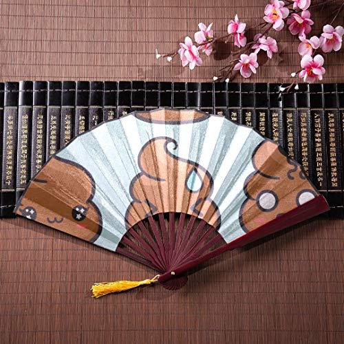 Gran abanico de pared japonés Conjunto de emoticones de caca lindos y divertidos con marco de bambú Colgante de borla y bolsa de tela Ventilador de mano de bambú grande Ventiladores de manos para muj