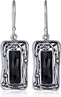 Stera Jewelry Retro Vintage Style Choice of Gemstone 925 Sterling Silver Rectangle Dangle Earrings