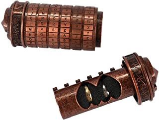 Alphabet Locks, ELECDON Retro Birthday Valentine Gift Box Cylinder Lockbox Da Vinci Code Alphabet Locks for Red bronze