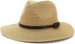 WELSUN Hollow Straw Sun Hat for Lady Sunscreen Belt Decorative Leather Fashion Sun Hat Straw Hat (Color : Khaki, Size : 56-58CM)