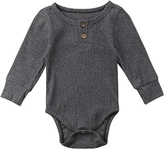Luckinbaby Newborn Unisex Baby Solid Onesies Basic Plain Rib Stitch Long Sleeve Bodysuit Clothes for Infant Boy Girl