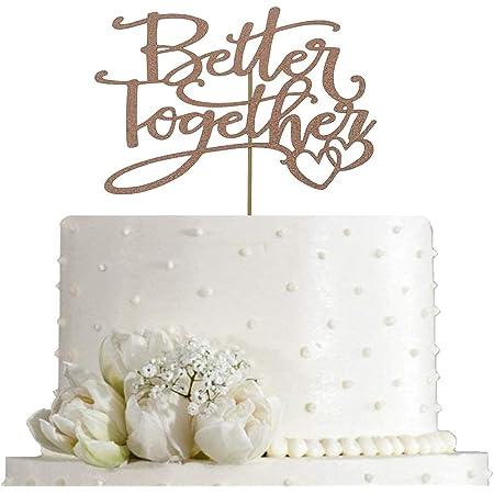 Handmade North America Gold Glitter Better Together Decor CT054 Wedding Cake Topper