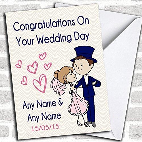 Deco blauwe & roze trouwkaart met envelop, volledig gepersonaliseerd, snel en gratis verzonden