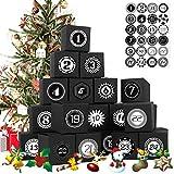 Yisscen 24pcs Cajas de Calendario navideño, DIY Caja de Calendario de Adviento de Navidad, Utilizado Fiesta de cumpleaños Fiesta decoración(Negro)
