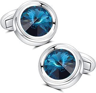Mens Cufflinks, Elegant Super Shiny Crystal Navy Blue Gemstone Cuff Links Set for Men's Business Wedding Party Cufflinks Gift