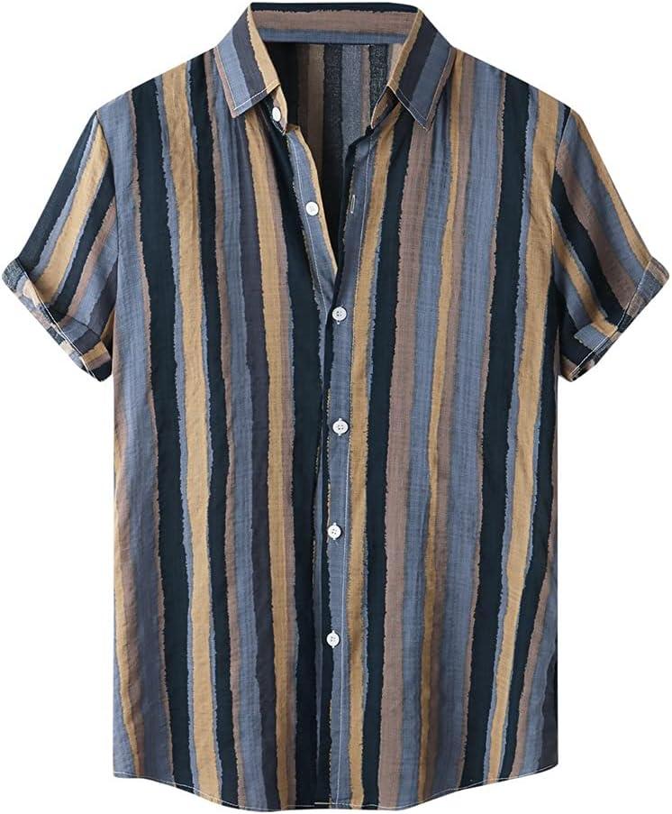 TJLSS Fashion Hawaiian Shirt Mens Turn Short Print Sleeve Stripe OFFicial shop Max 57% OFF