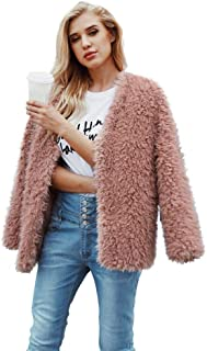 Women Fluffy Fuzzy Faux Fur Coat Open Front Cardigan Jacket Coat Outwear Wedding Party Winter