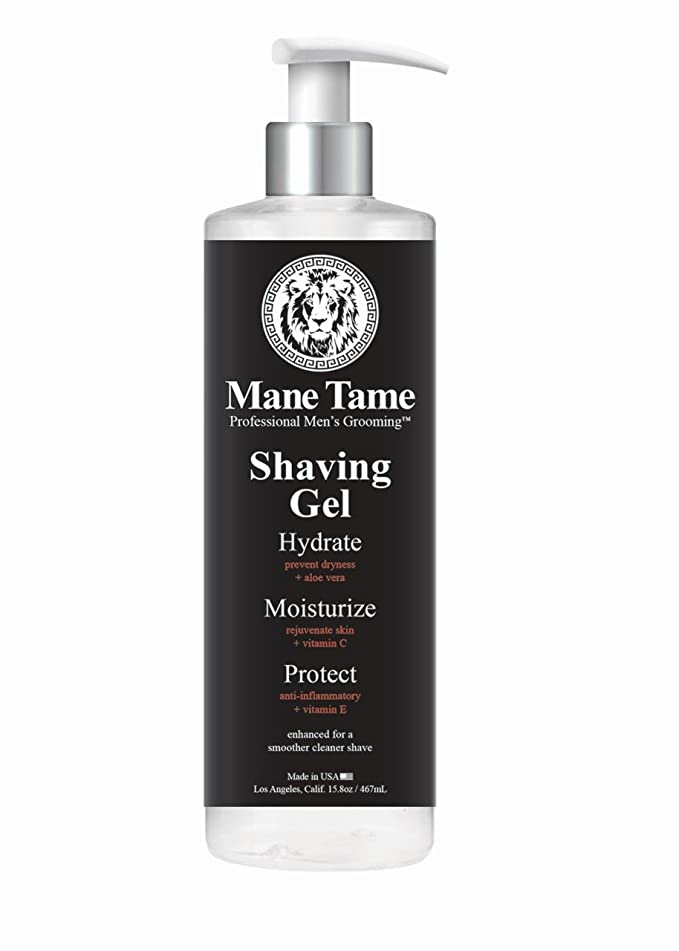 Mane Tame Shaving Gel 15.8oz - Clear, Natural Formula with Aloe Vera, Vitamin E, Vitamin C! Excellent for Precision Edge-ups and Line-ups. Made in USA! Fresh scent, leaves skin feeling soft and firm!?