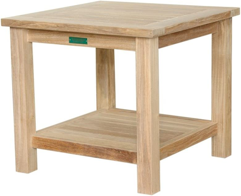 Anderson Low price Teak Square 2-Tier Deluxe 22-Inch Table Side
