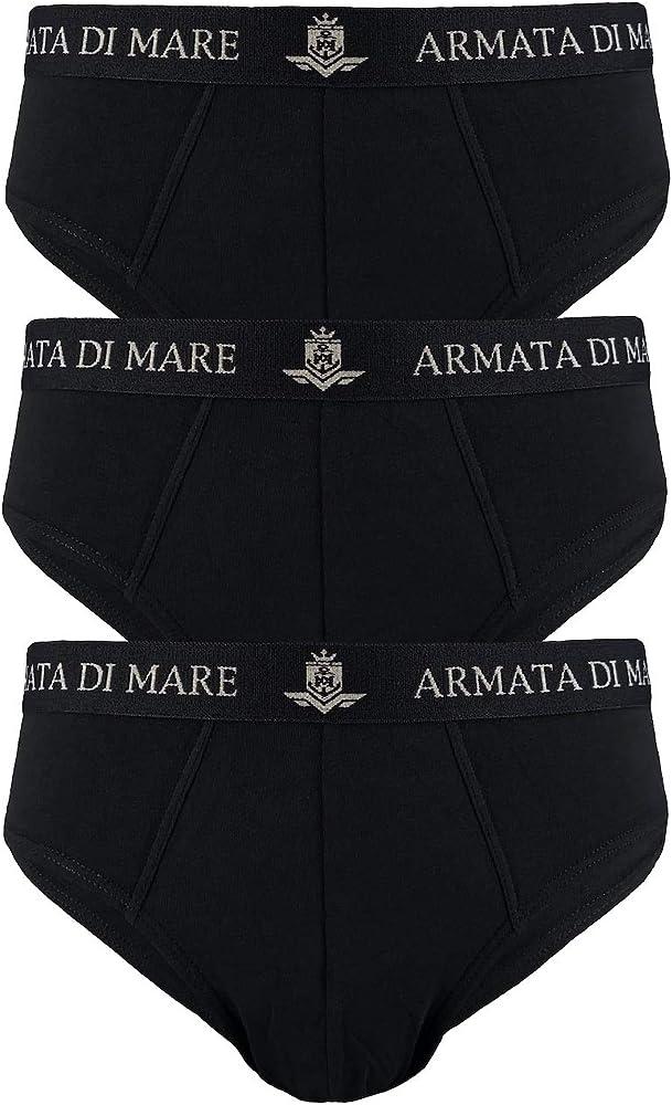 Armata di mare, 3 paia di mutande , slip per uomo, in cotone elasticizzato , neri