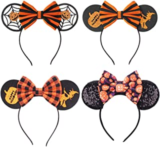 Halloween Bow Headbands Caps Party Witch Pumpkin Mouse Ear Headwears for Halloween Party Carnivals Fancy Magic Hat