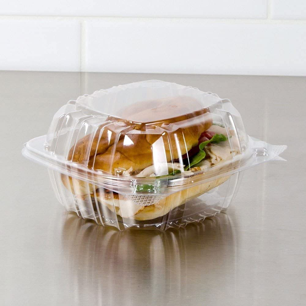 Plastic Hinged Food Container Dessert Containers - Disposable Plastic Clamshell Food Containers for Salads, Pasta, Sandwiches, 5x5x3 (25)