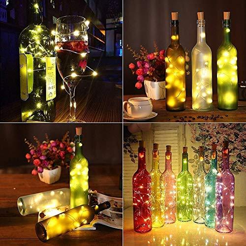 xjzjy Rope led wine bottle with cork 20 led bottle lights battery cork for party wedding christmas halloween decoration bar white warm