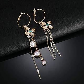 Erin Earring Accessori Moda Donna Orecchini Vintage Charm Croce Asimmetrica Simulazione Perla Gioielli Orecchini A Catena ...