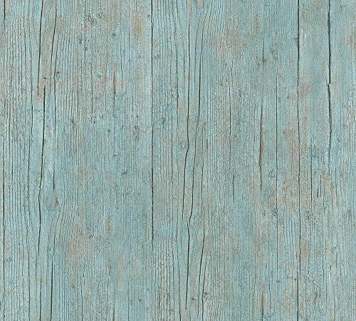 A.S. Création Vliestapete Authentic Walls 2 Tapete in maritimer Vintage Holz Optik fotorealistische Holztapete 10,05 m x 0,53 m blau grün braun Made in Germany 364871 36487-1