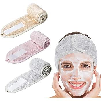 Fascia per capelli per make up, 3 pezzi, con chiusura in velcro, per cosmesi, fascia regolabile, fascia protettiva per capelli con chiusura in velcro