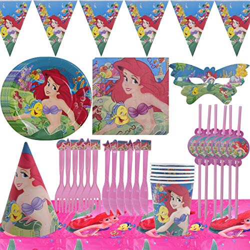 Miotlsy Geburtstag Party Set 54 Stück Meerjungfrau Partyzubehör für Mädchen Geburtstag Party Deko Besteckbeutel Tischtuch Servietten Teller Tassen Utensilien Banner (6 Gäste)