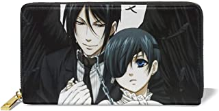 Hdadwy Black Butler Ciel y Sebastian Anime Cartera de Cuero Genuino con Estampado de Bricolaje Cartera de Cuero básica de ...