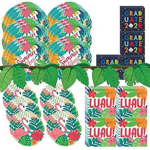 Amscan Tropical Jungle Dinnerware Bundle | Plates, Napkins, Streamer | Tropical Party Decorations, Hawaiian Birthday Party, Luau Decor Theme