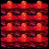 TDLTEK Waterproof Submersible Led Lights Tea Lights for Wedding, Party, Decoration (12 Pieces Red)