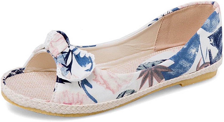 BalaMasa Womens Bows Peep-Toe Floral Fabric Flats shoes