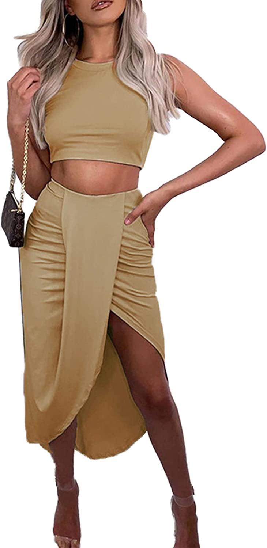 LYANER Women's 2 Piece Outfits Sexy Crop Tank Top and Wrap Draped Slit Midi Skirt Set