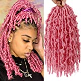 12 Inch Butterfly Locs Crochet Hair Short Bob Butterfly Locs Distressed Locs Most Natural Pre Looped Crochet Braids Hair Extension 80strand (Pink, 12inch)