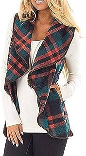Women Plaid Print Open Front Jacket Sleeveless Lapel Open Front Jacket Casual Plus Size Sleeveless Cardigan for Autumn