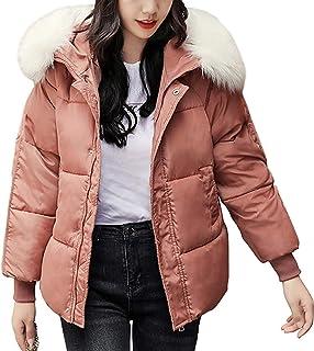 Lazutom Chaqueta de invierno cálida con capucha y cuello de piel para mujer