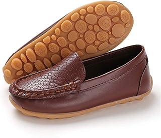 BENHERO Kids Boys Girls Loafers Slip on Soft Synthetic Leather Boat Dress School Shoes Flat(Toddler/Little Kid)