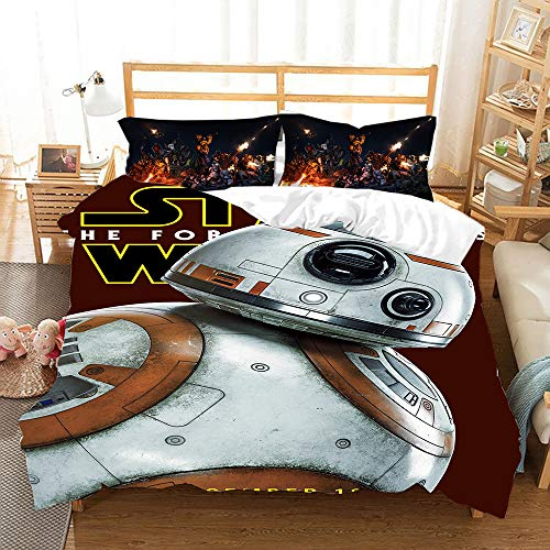 NOOS Star Wars Bedding for Kids and Teens 3D Star Wars Duvet Cover Set King Size, Best Gift for Kids Soft Microfiber Bed Set 3PC(1 Duvet Cover and 2Pillowcases) No Comforter Inside