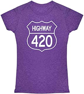 Pop Threads Highway 420 Pot Smoking Weed Marijuana Cannabis Graphic Tee T Shirt for Women