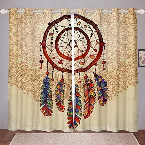 "Dreamcatcher Window Treatments Boho Dream Catcher Window Curtain Bohemian Style Curtains for Girls Children Women Bedroom Colorful Indian Feather Decor Blackout Drapes 84"" X 63"""