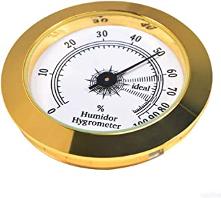 REMIGHTELY BRIGHT Cigar Hygrometer - Precision Round Glass Pointer Hygrometer for Metal Cigar Box/Cigar Cabinet, Diameter 2in and Gold