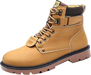 Mens Martin Bootie,Men Snow Winter Outdoor Lace-Up British Style Casual Non-Slip Wear-Resistant Outdoor Tooling Big Size (Color : Yellow, Size : 7.5 UK)