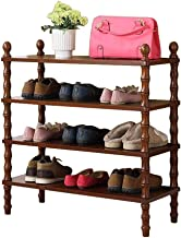 Household Solid Wood Shoe Rack 4 Tier Storage Cabinet Versatile Hallway Entrance Organiser Shelves Dust-Proof European Sty...