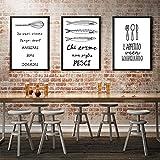 L.L.QYL Lienzo de Pintura 3pcs Set de Palas de Pescado y el Marco Forks restaurantes creativos murales Triple Negro Pintura Fresca Modernos decoración de la Pared Art Cafe Hotel Home Mural