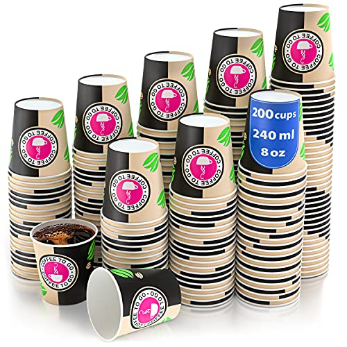 200 Vasos Desechables de Café para Llevar - Vasos Carton 240 ml para Servir el Café, el Té, Bebidas Calientes y Frías