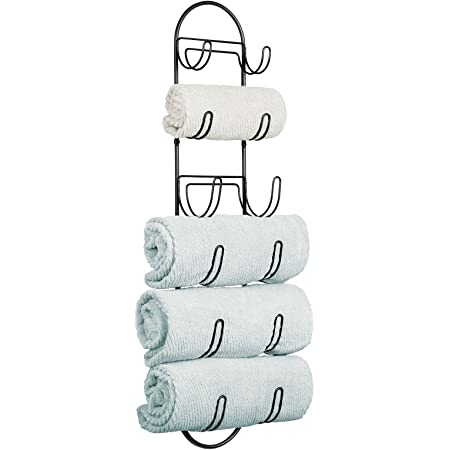 mDesign porte-serviette mural – porte-serviette enmétal – accessoire de salle de bain élégant, également adapté pour les WC invités – noir