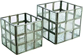 Boho Traders Design Glass Candle Holder Set, Silver/Clear, Pack of 2