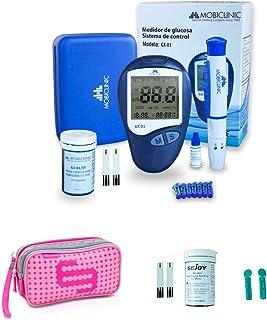 Mobiclinic, Glucosemeter set, lancetten, stroken en roze Elite Tassen koffer, Spaarpakket