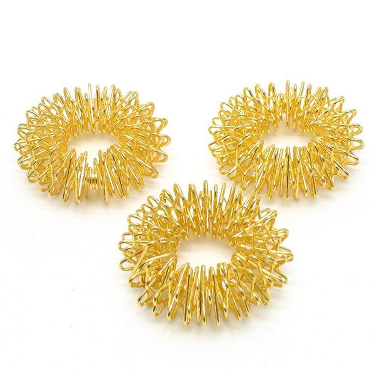 くそー避ける最小化する指のマッサージリング鍼灸マッサージリングヘルスケアボディマッサージ - ゴールド