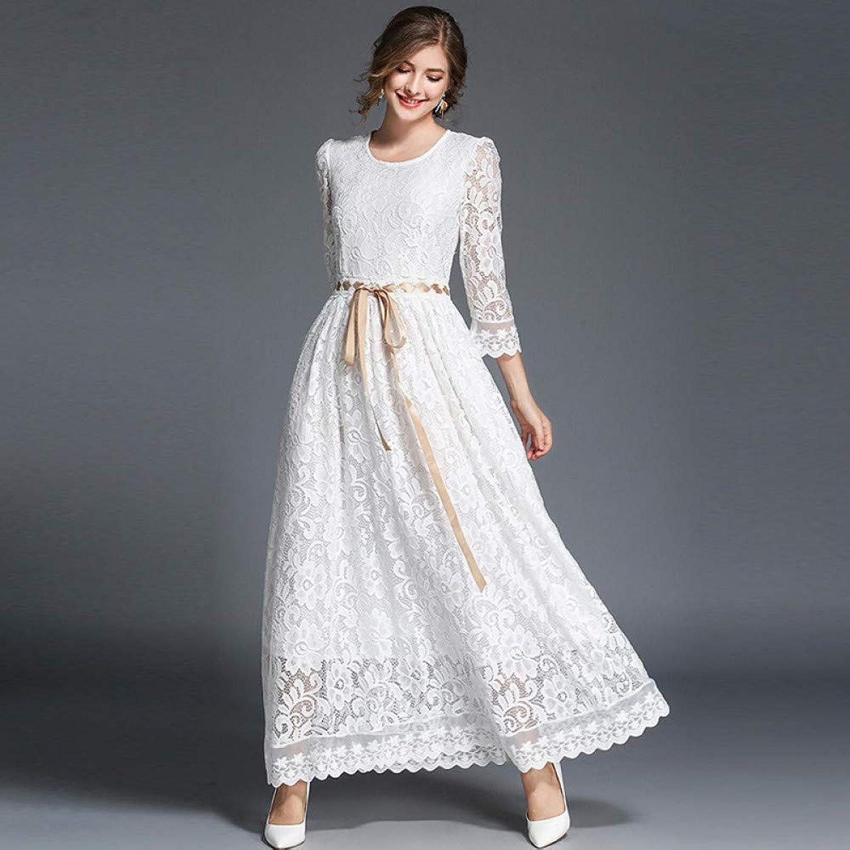 Cxlyq Dresses Women's Sleeve LaceUp Bow Tie Waist Oversized Long Dress