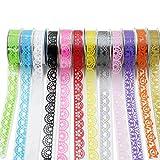 PsmGoods® 12 rollos cinta adhesiva decorativa colores DIY adhesivas adhesiva cinta adhesiva