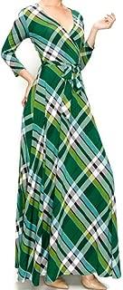 Green Black Plaid Faux Wrap Maxi Dress
