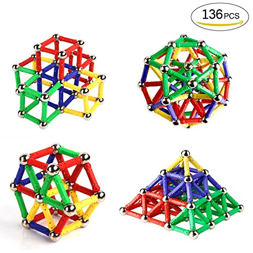 Magnetisch Bausteine, Ausear 136 Stücke Magnetische Sticks Baustein Spielzeug, Kinder Intelligenz Lernspielzeug und Gehirn Training Set für Erwachsene und Kinder (über 6 Jahre Alt)